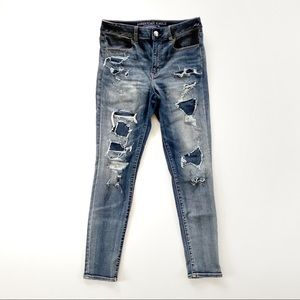 American Eagle Hi Rise Jegging Distressed Jeans